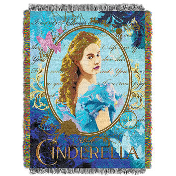 Disney Cinderella Kindness and Courage  Woven Tapestry Throw (48inx60in)