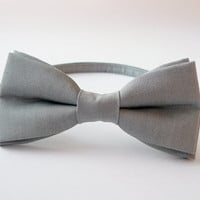 Mens bow tie freestyle groom wedding hipster classic retro necktie chic handmade gift for him by Bartek Design - linen gray grey