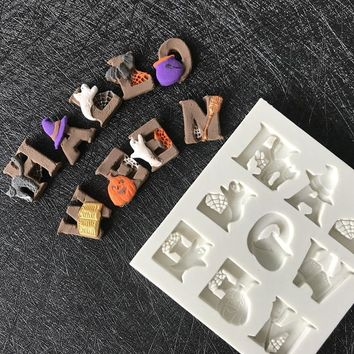 Halloween Letters Alphabet Fondant Cat pumpkin bat ghost witch hat Chocolate Mould Silicone Mold Cake Decorating Tools