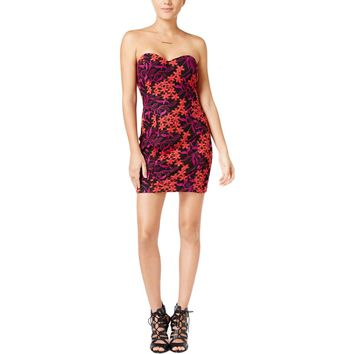 Guess Womens Embroidered Strapless Bodycon Dress