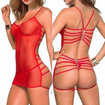 Womens Red Mesh Chemise Sexy Lingerie Babydoll Nightie Bodysuit Sleepwear