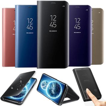F Samsung Galaxy S9 S8 Plus Note8 Clear View Mirror Leather Flip Case Cover Skin