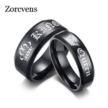 ZORCVENS 2018 New Fashion Engagement Ring Black King and Queen Couple Wedding Bands Promise Ring for Men and Women