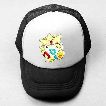 Sports Hat Cap trendy  Japanese Anime Pokemon Psyduck Togepi Baseball Cap Men's Women's Girl's Boy's Snapback  Hip Hop Cap Mesh Trucker Caps KO_16_1