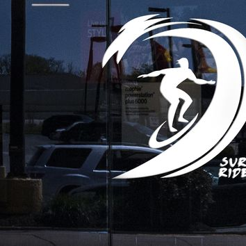 Window Sign Vinyl Wall Decal Surfing Sports Waves Surfboard Rider Stickers (2289igw)