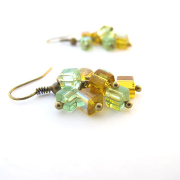 Green & Yellow Cube Cluster Earrings