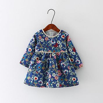 Infant Floral Print European Style Vintage Long Sleeve Toddler Dresses Birthday Baby Clothes
