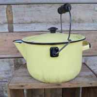 Farmhouse cottage Decor Yellow Enamelware teapot kettle cook camping  Vintage Home Decor