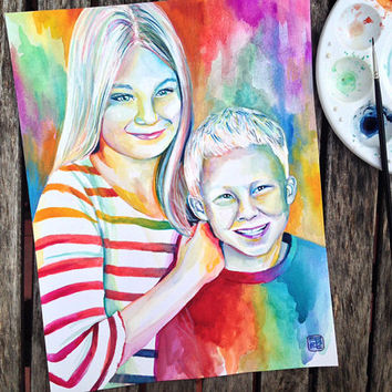 CUSTOM PORTRAIT PAINTING of children - Special gift for mother for father for parents for grandparents