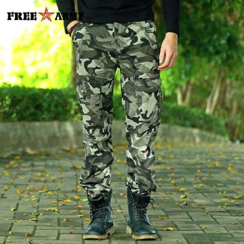 FREE ARMY 2017 Gray Camo Cargo Pants Military Style Men Camouflage Pants Fashion Trousers Streetwear Men's Wild Casual Pants