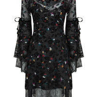 Black V-neck Floral Long Sleeve Dress And Cami Lining