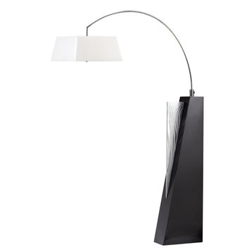 Edge Arc Lamp Brushed Aluminum & Dark Brown Cream Linen Shade