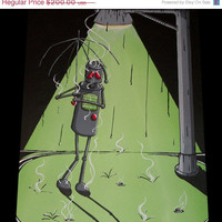 WEEKEND SALE - Original Robot Pop Art Painting by Mike Best - Acid Rain 9-  I need a new umbrella- 16X20