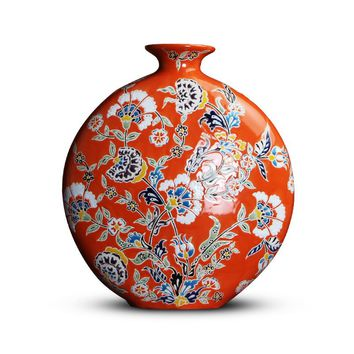 Chinese American Style Red Pastel Hand-painted Ceramic Flat Vase