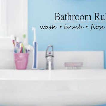 BATHROOM RULES decal sticker wall vinyl cute by dabbledownJunior