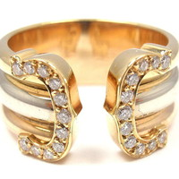 CARTIER Double C Diamond Tri-Color Gold Band Ring