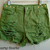 High Waisted Denim Shorts Green Jean Shorts Studded Back to School Clothing Size 2-3