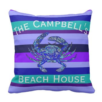 Your Family Name Beach House Stripe Crab Pillow