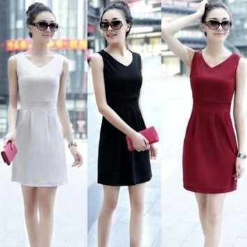 5 Colour S Xxl  2015 Women's Dress Tunic Gown Plus Size Sleeveless Vest Summer Spring Dress  Casual Slim Mini Dress For Women Lady Ol = 1946540548