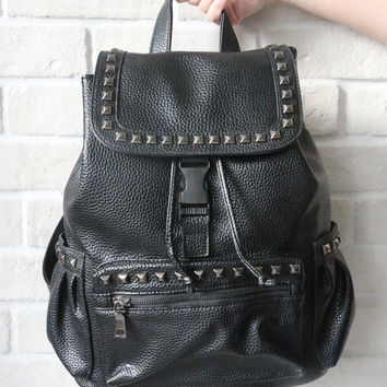 Studded Textured Leather Backpack - Black