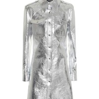 Metallic leather shirt dress