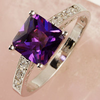 Princess Cut Amethyst White Topaz Gemstone Silver Ring Size 8- Free Shipping