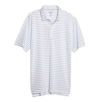 Cay Striped Pique Prep-Formance Pique Polo in White by Johnnie-O