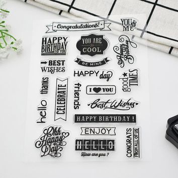 1pcs Acknowledgment Words Letter Silicone Clear Stamps Thank You Rubber Clear Stamps For Scrapbooking Dairy Free Shipping 187