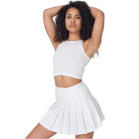 Stylish High Waist Essential Women's Pleated Skater Tennis Skirt Solid Color Mini Slim School Uniform Saias Femininas C101