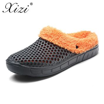 XIZI New winter Plus cotton Hole Shoes Lover Double layer Mesh Unisex Flat Fashion Winter Male And Female Couple Cotton Slippers