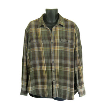 Green Flannel Shirt Men XXL Shirt 2X 90s Grunge Flannel Shirt Men Flannel Shirt Plaid Flannel Shirt Men Grunge Lumberjack Flannel Men Cotton