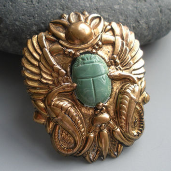 Scarab Snake Egyptian Revival Brass Brooch Pin