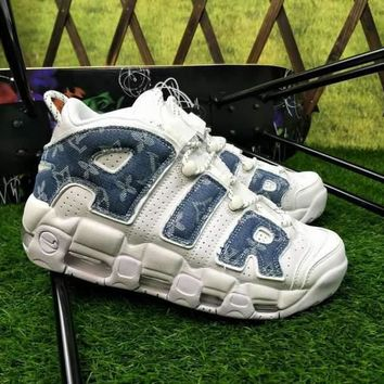 Nike Air More Uptempo x Supreme x Louis Vuitton LV Blue White Denim Sneakers