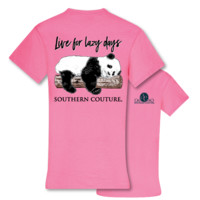 Southern Couture Live for Lazy Days Panda T-Shirt
