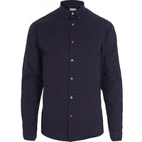 River Island MensNavy Jack & Jones Premium polka dot shirt