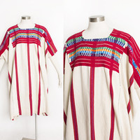 Vintage HUIPIL Dress - Gatemalan Hand Woven Embroidered Cotton Boho Poncho 1970s