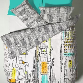 BROADWAY FULL COTTON REVERSIBLE COMFORTER COVER SET #ERAUQSSEMIT *TUR*