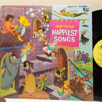 "Walt Disney Vinyl Record Album 1960s Children All Ages Fun LP, ""Happiest Songs"" (1967 Disneyland / Gulf Oil)"