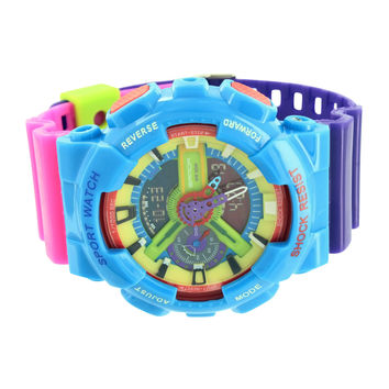 Multi Color Watch Mens Unique Style Analog Digital
