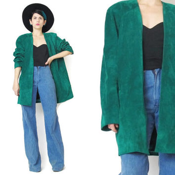 Vintage 80s Suede Leather Coat Draped Open Front Jacket Green Leather Jacket Emerald Bright Green Leather Coat Minimalist Slouchy Jacket (L)
