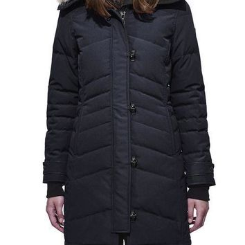 Canada goose Winter fashion to keep warm WOMEN Long down jacket /Navy blue