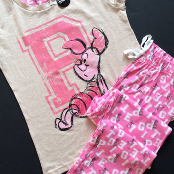 PRIMARK Disney PIGLET Winnie The Pooh Pyjamas Lounge Pants & T Shirt Pyjama Set