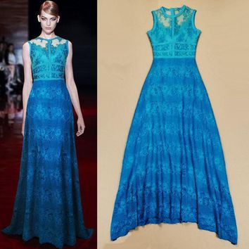 New 2015 Fashion Blue Sleeveless Lace Perspective Stripe Expansion Bottom Dress Mopping Floor Maxi Dress