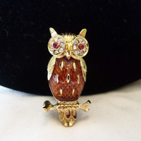 Trifari TM Owl Brooch Golden Brown Red Diamante Glass Rhinestone Gold Plate Tie Tac Pin Vintage