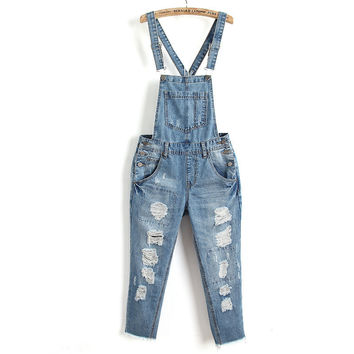 Summer Classics Heavy Work Rinsed Denim Ripped Holes Casual Jeans Romper [6332322308]