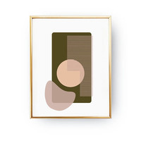 Simple Art, Geometric Textures, Mid Century Decor, Modern Design, Green Pink Artwork, Textured Picture, Minimal Poster, Abstract Shapes