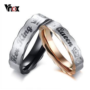 Vnox Crown His Queen Her King Wedding Rings for Women Men Stainless Steel CZ Stone Couple Band Lovers Elegant Jewelry Gift