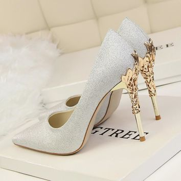 New Women Elegant Pumps European Fashion SatinThin Heels Flower Metal Heel Sexy High-h