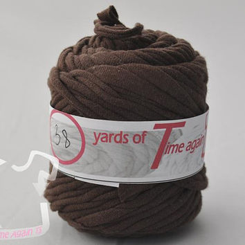 Woodland Brown t-shirt yarn 38 yards upcycle recycle craft crochet knitting supply