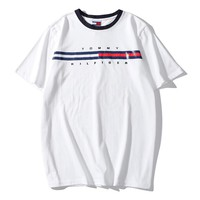 Tommy Hilfiger Summer Fashion Casual Men Women Classic Tee Shirt Top White